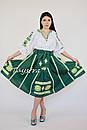 Юбка с вышивкой, четыре клина, этно стиль, вышитая юбка зеленая, летняя юбка с поясом, фото 5
