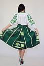 Юбка с вышивкой, четыре клина, этно стиль, вышитая юбка зеленая, летняя юбка с поясом, фото 6