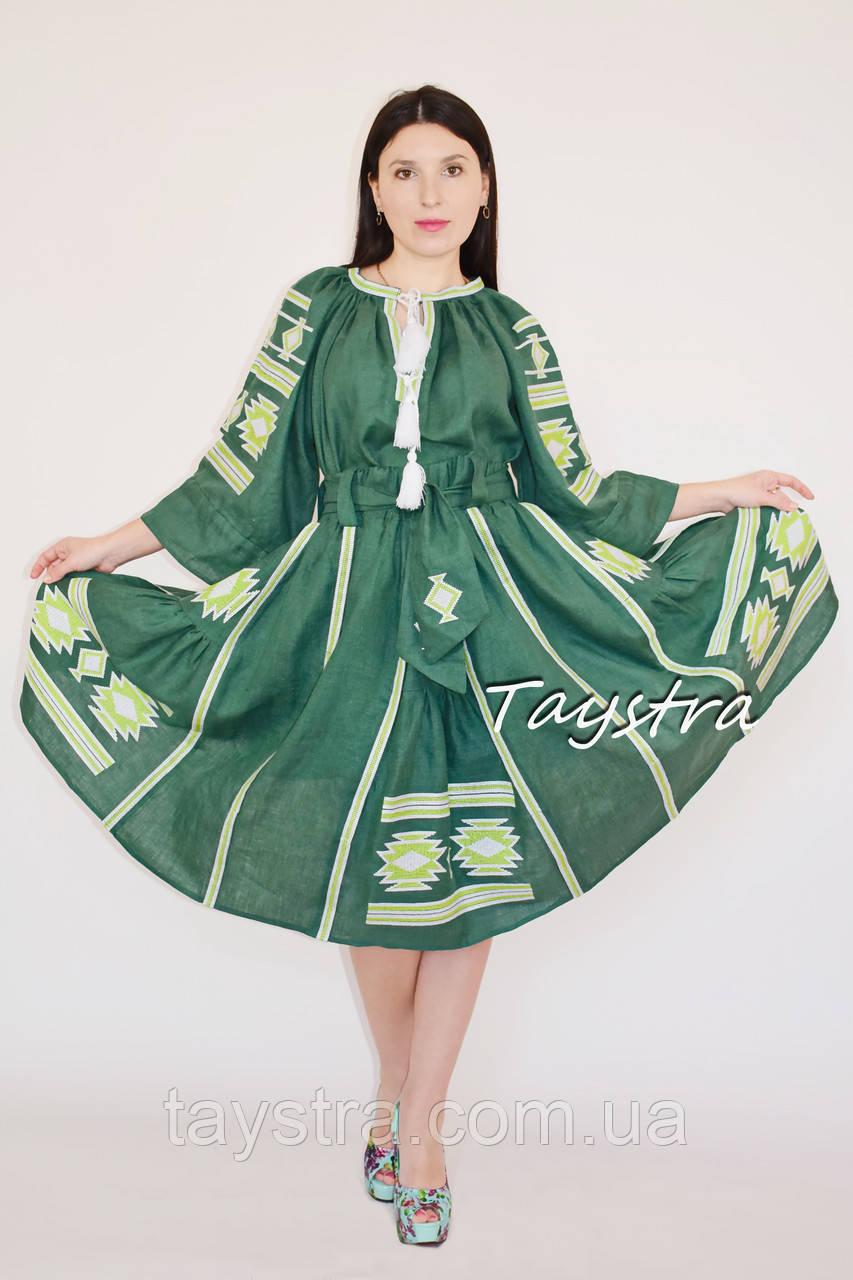 Юбка с вышивкой, четыре клина, этно стиль, вышитая юбка зеленая, летняя юбка с поясом
