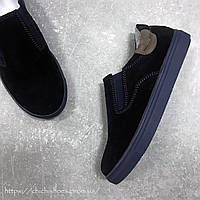 Темно-синие замшевые слипоны для мальчика Dexfern 29 размер