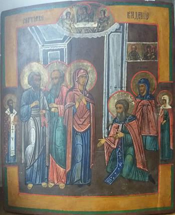 Икона Явление Богородицы Сергию Радонежскому  19век. Россия, фото 2