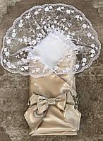 """Нарядный кружевной конверт на выписку из роддома для девочки """"Ангел"""" золото, фото 1"""