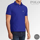 Мужская футболка тениска поло Ralph Polo Lauren | Чоловіча теніска поло Ральф Поло Лорен (Синий), фото 2