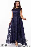 Шикарне довге жіноче вечірнє плаття з асиметрією 48,50,52 р.(7расцв), фото 6