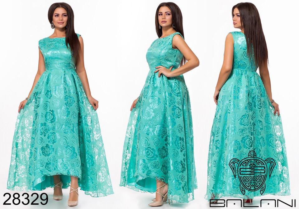 Шикарне довге жіноче вечірнє плаття з асиметрією 48,50,52 р.(7расцв)
