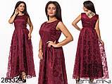 Шикарне довге жіноче вечірнє плаття з асиметрією 48,50,52 р.(7расцв), фото 8