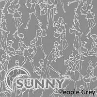 Рулонные шторы для окон в закрытой системе Sunny с плоскими направляющими - ПЛАСТИК, ткань People