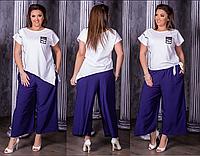 Костюм летний с широкими льняными брюками, с 48-58 размер, фото 1