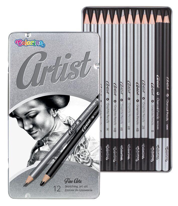 Набор чернографитных карандашей  для рисования в металлической упаковке, Colorino Artist