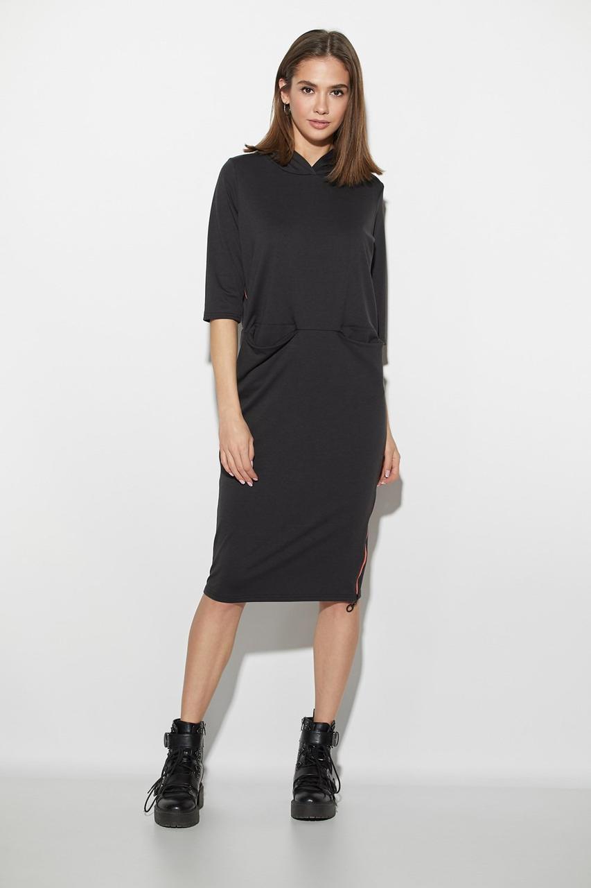 33ea3351db9a99b Черное трикотажное платье миди с капюшоном - Интернет-магазин