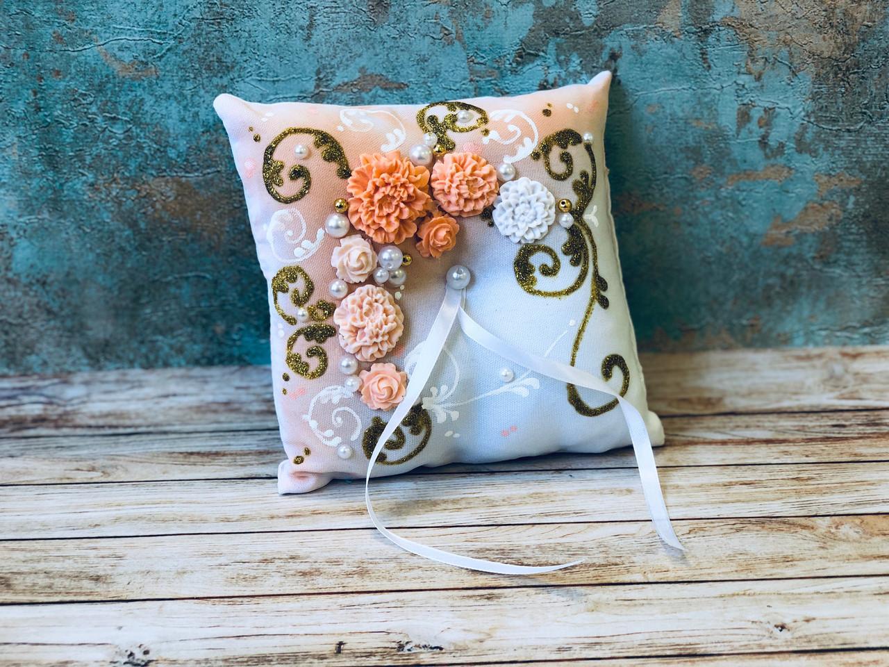 Свадебная подушечка для обручальных колец Bonita персиковая (300)
