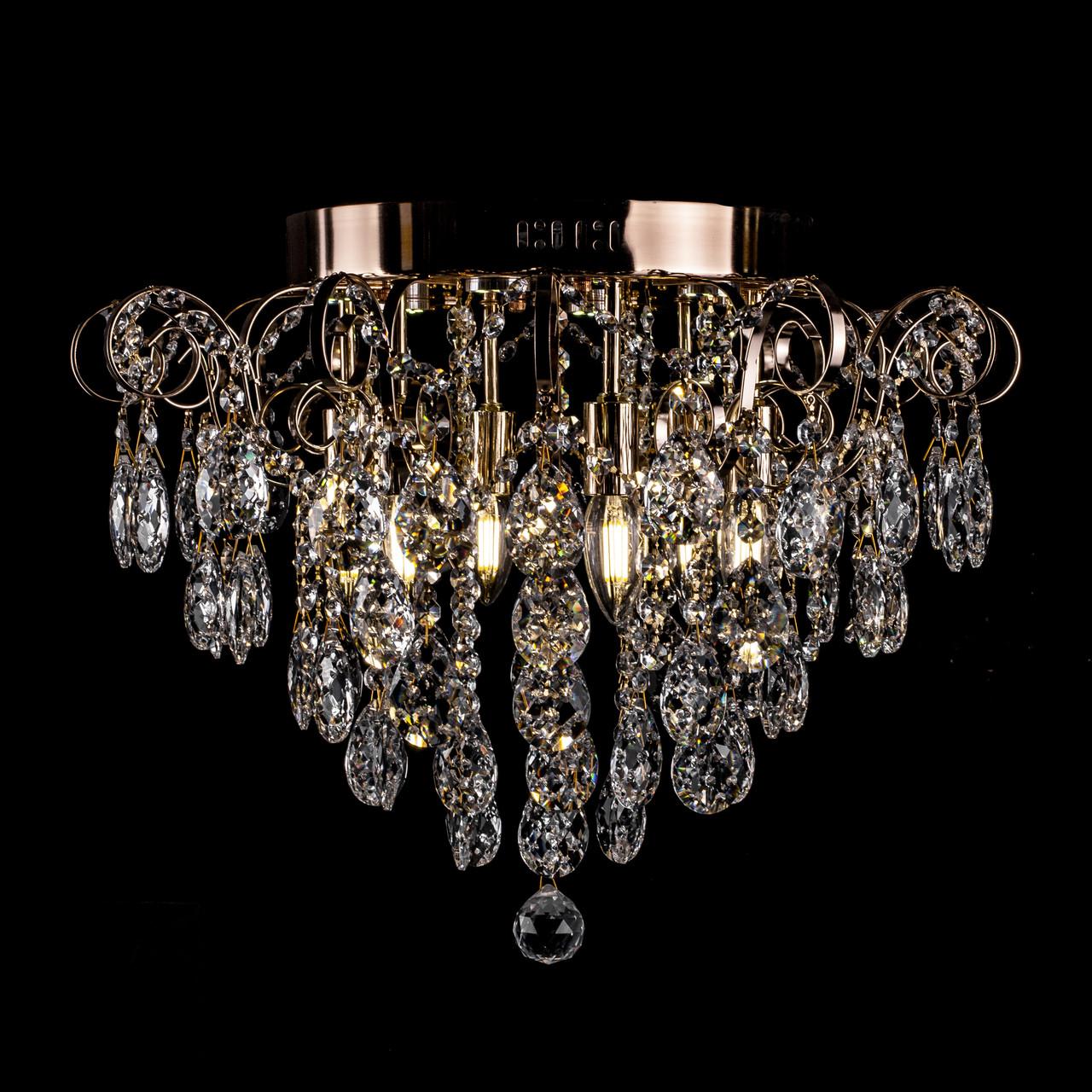 Хрустальная люстра СветМира на 6 лампочек с LED подсветкой на пульте д/у (золото) PM-2247/6+6/LED