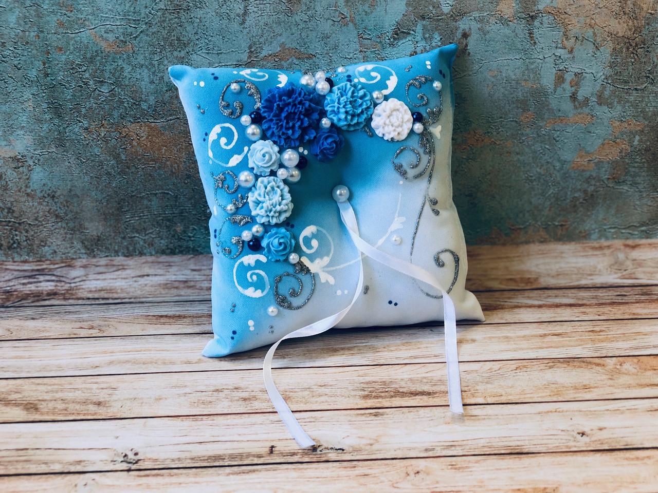 Свадебная подушечка для обручальных колец Bonita синяя (300)