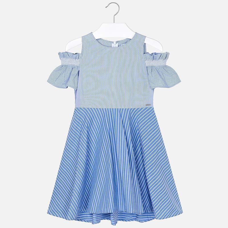 Платье хлопковое, в полоску, с открытыми плечами