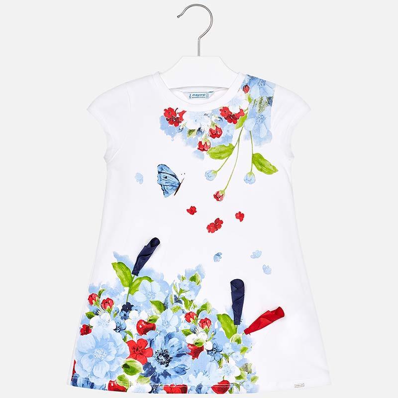 Платье хлопковое, рисунок цветы, вышивка лентой