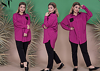 Жіночий брючний костюм з сорочкою, з 50-56 розмір, фото 1