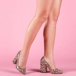 Туфли кожаные леопард каблук широкий 9 см, фото 2
