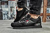 Женские кроссовки в стиле Fila, замша, текстиль, пена, черные 36 (23 см)