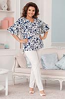 Костюм летний с блузкой цветочный принт, с 50-60 размер, фото 1