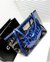 Женская прозрачная сумка, синий цвет ( код: IBG035Z )