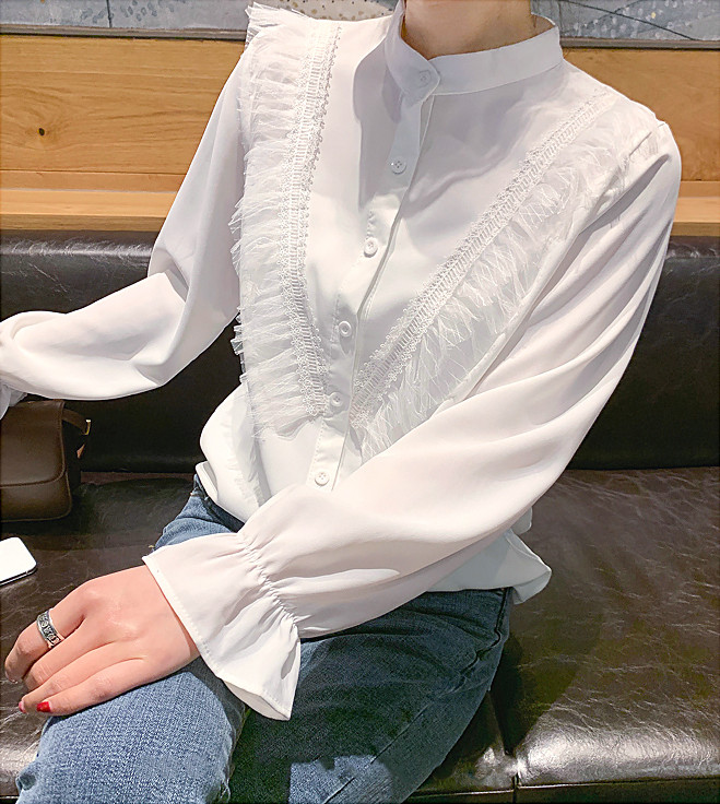 Женственная рубашка с фатином (в расцветках 44-46)