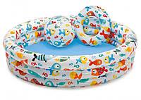 Бассейн детский надувной Аквариум с мячом и кругом