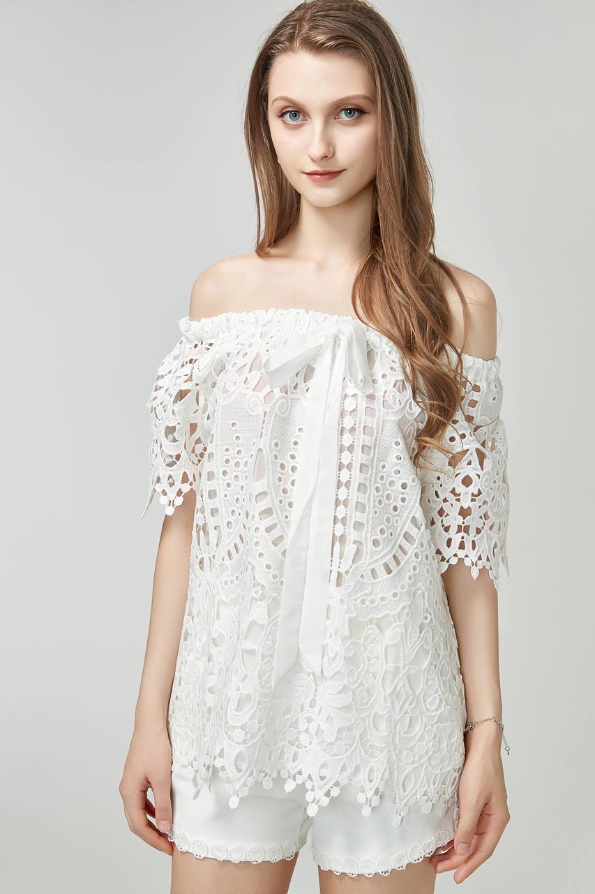 Кружевная блуза с открытыми плечами (в расцветках)