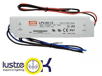 Блок питания для светодиодной ленты Влагозащищенный 60Вт Mean Well LPV-60-12 IP67