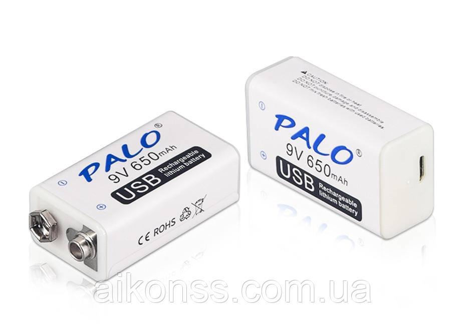 Акумулятор Крона 9V 650mAh Li-Ion PALO зарядка через micro USB Пинпоинтер Металодектор