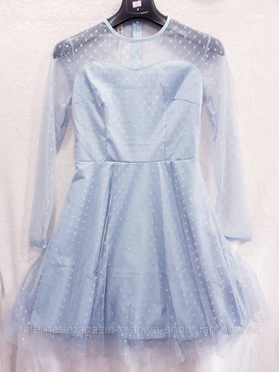 Платье женское сетка горох универсал 42-44 (лето)
