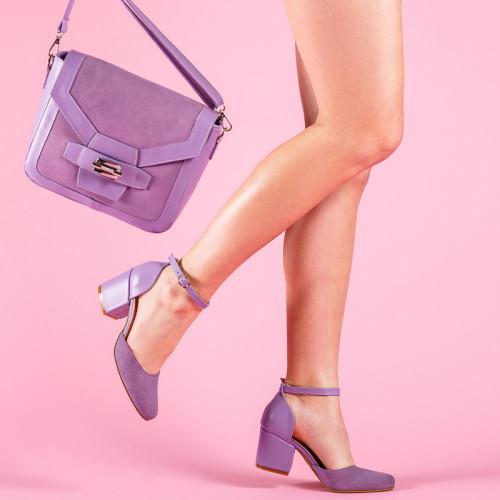 Туфли кожаные на ремешке замшевые с каблуком широким 6 см сиреневые