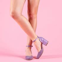 Туфли кожаные на ремешке замшевые с каблуком широким 6 см сиреневые, фото 3