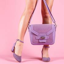 Туфли кожаные на ремешке замшевые с каблуком широким 6 см сиреневые, фото 2