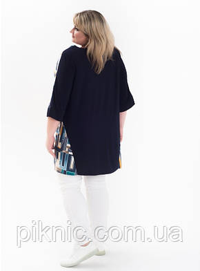 Красивая туника Тетрис 62-64, 66-68, 70-72 батал. Женская одежда больших размеров. Синий, фото 2