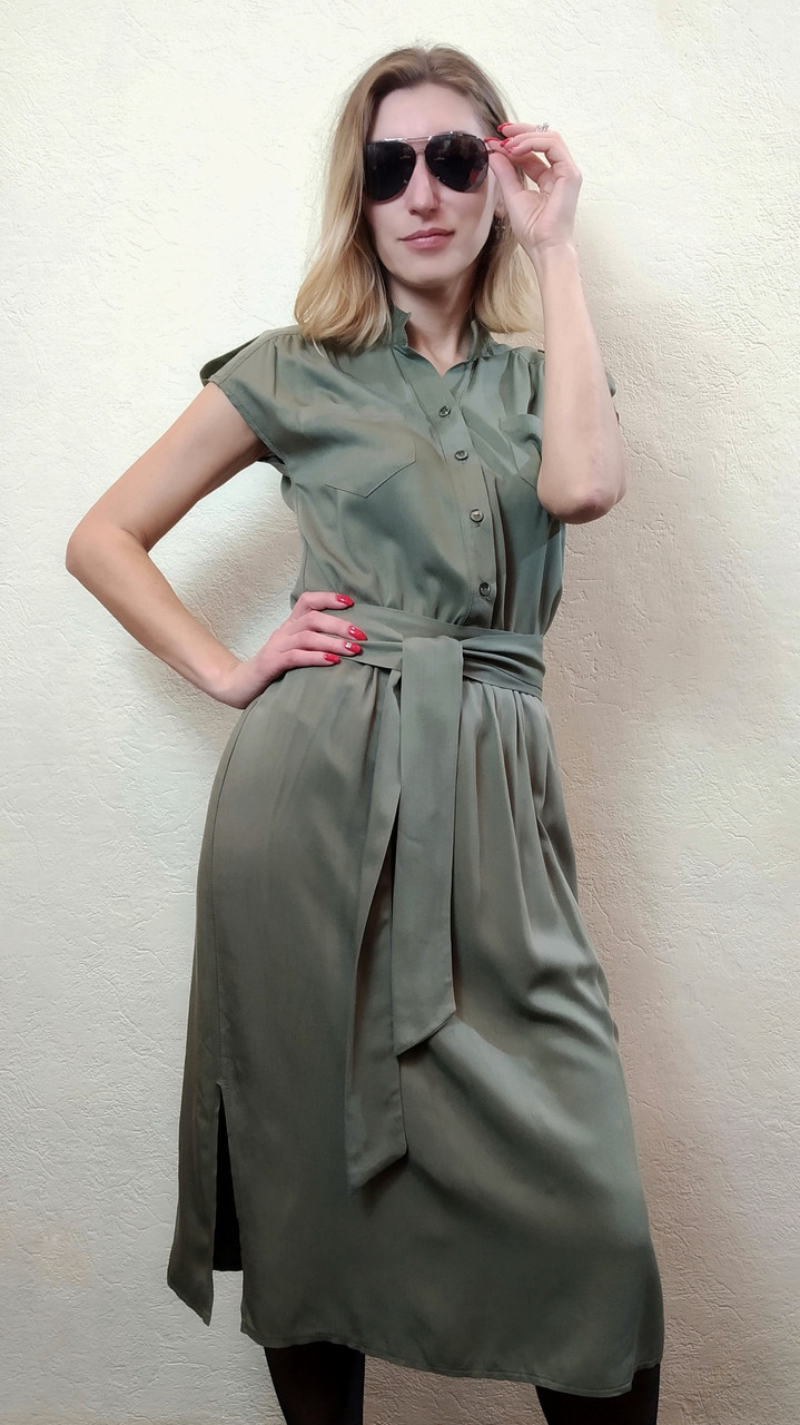Женское платье хаки с коротким рукавом П263