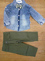 Стильный костюм для мальчика с джинсовой рубашкой и бабочкой 1,2,3,4 года