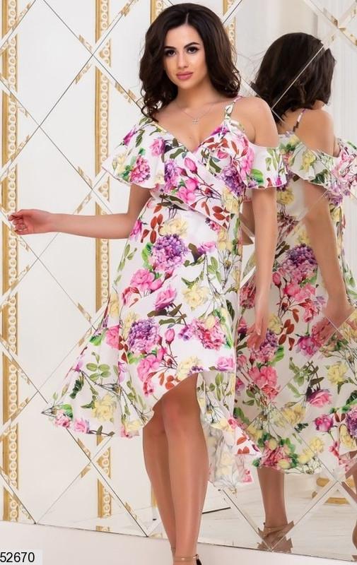 26f01d86f55df96 Легкое платье средняя длина на запах с воланами с коротким рукавом цветочный  принт белого цвета -