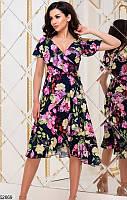 Летнее платье средняя длина на запах с воланами с коротким рукавом цветочный принт черное