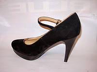 Т391 Женские туфли черные замшевые на каблуке