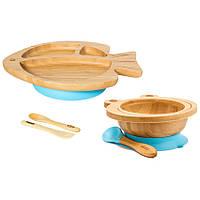 Набор детской бамбуковой посуды 2 в 1 на присоске Бабака, Голубой - 146020