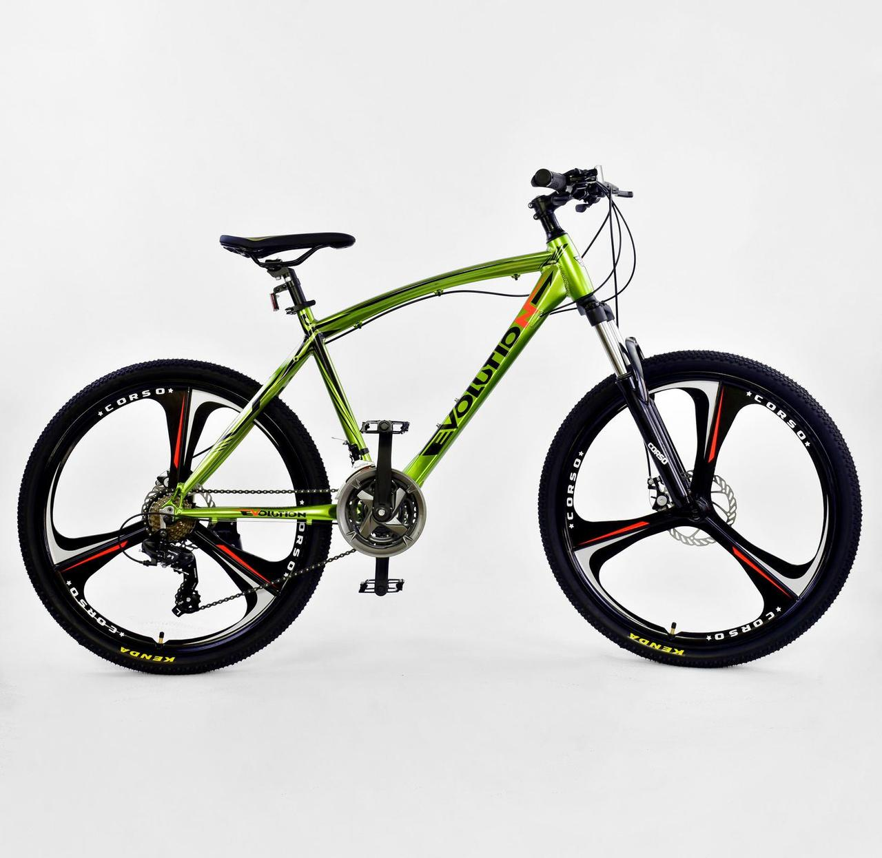 """Велосипед Спортивный CORSO 26""""дюймов JYT 007 - 2270 GREEN EVOLUTION Алюминий, 24 скорости"""
