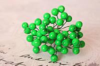 Глянцевые ягоды зеленого цвета (калина) 10 шт/уп. мелкие 0.8 см диаметр, фото 1