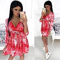 Женское платье мраморное (3 цвета) - Красный АА/-1237, фото 1