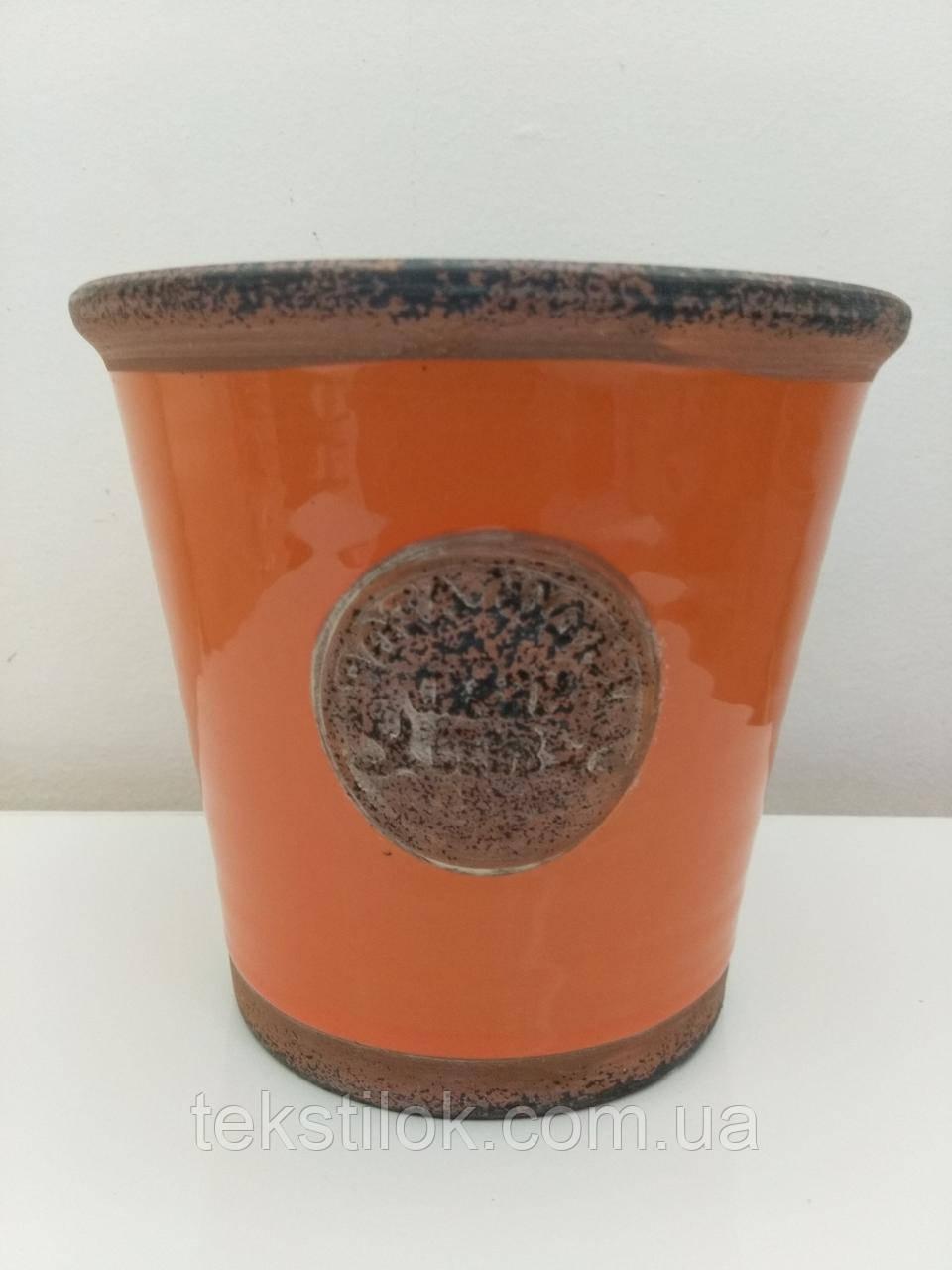 Кашпо керамическое для цветов Родос оранжевое