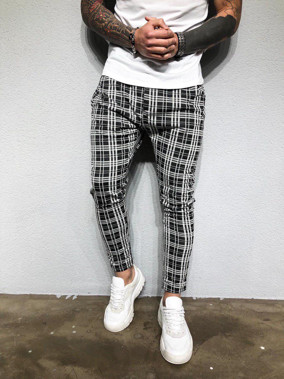 Мужские брюки с мотней черно-белые в клетку Black Island КА2085 размер ХЛ