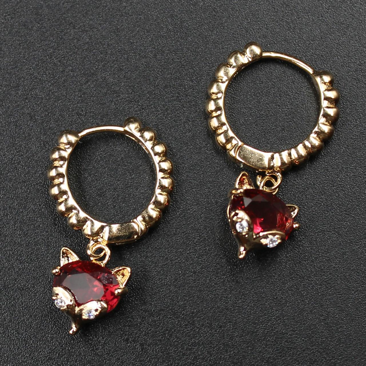 """Серьги-кольца женские """"Отила в красном"""" Xuping Jewelry (позолота)."""