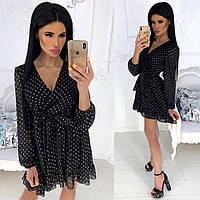 Нежное шифоновое платье женское (4 цвета) - Черный АА/-1239, фото 1