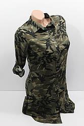 Женская рубашка-туника с длинным рукавом штапель оптом
