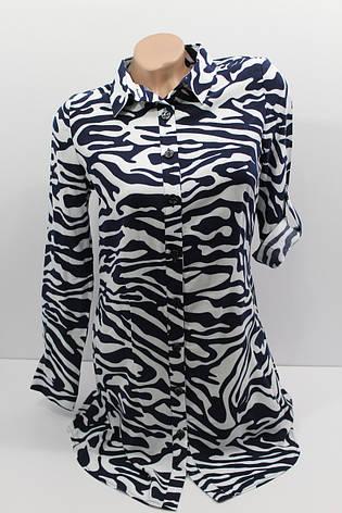 Женская рубашка-туника с длинным рукавом штапель оптом в Украине, фото 2