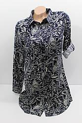 Женская рубашка-туника с длинным рукавом штапель оптом в Украине
